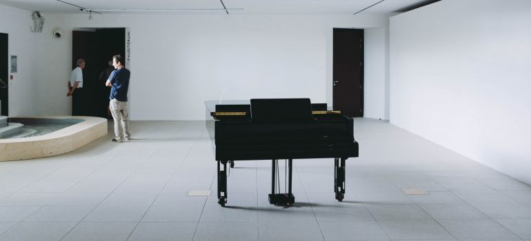 Piano in an empty room
