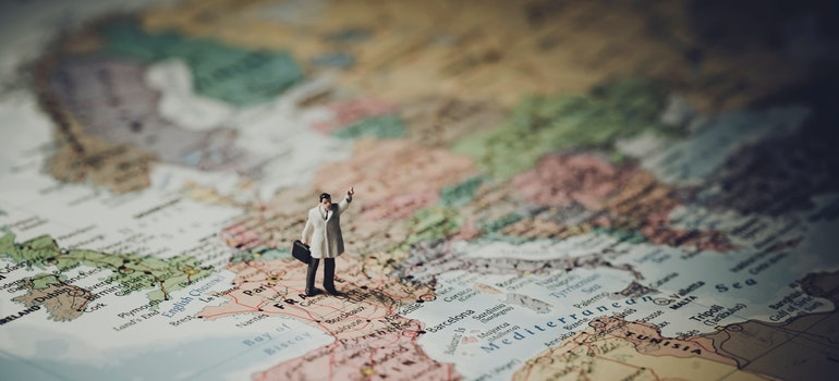A figurine of a man on a map of France