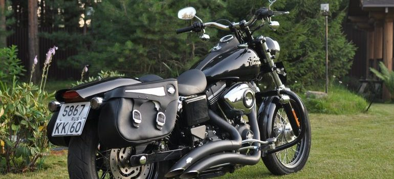 A motorbike with saddlebags