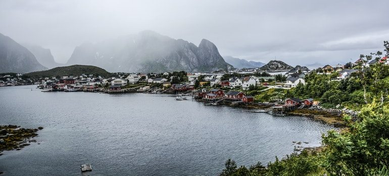 Norwegian town by the sea.