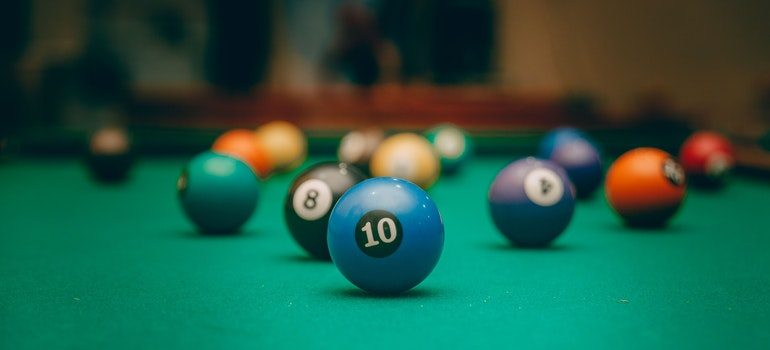 Billiard balls on a pool table.