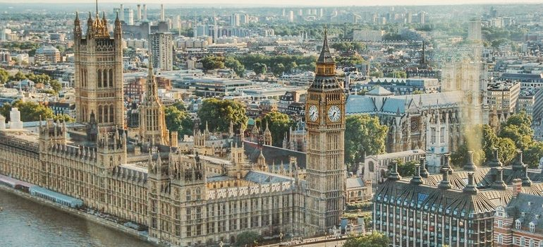 Aerial view of the Houses of Parliament.