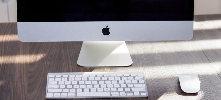 A white personal computer.