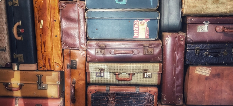 a pile of suitcases