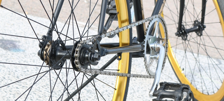 A bicycle pedal close up
