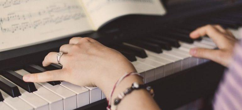A woman playing piano