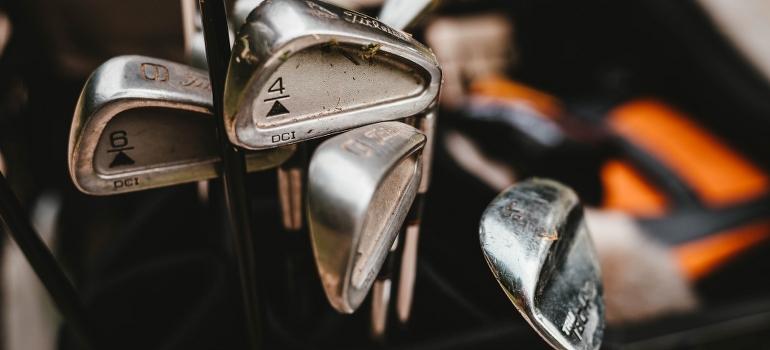 Golf clubs closeup