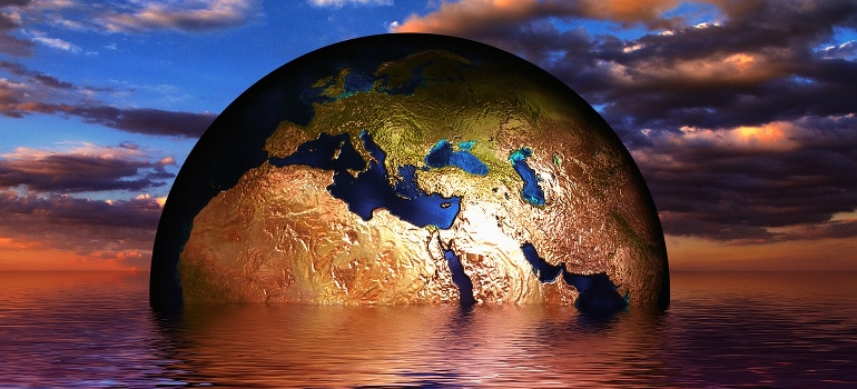 Planet earth in a water illustration