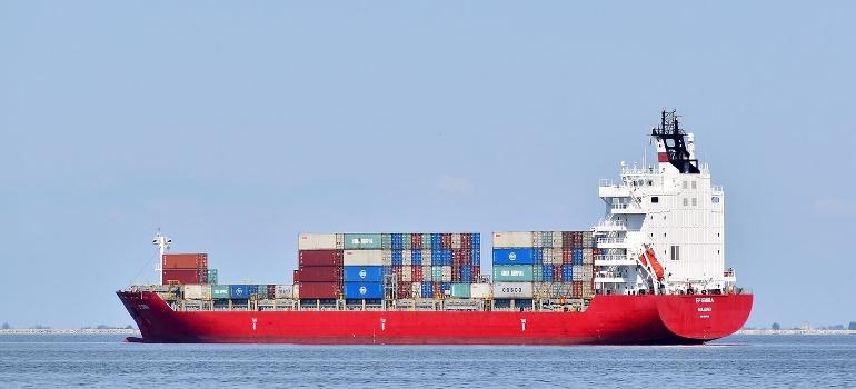 Cargo ship on a sea