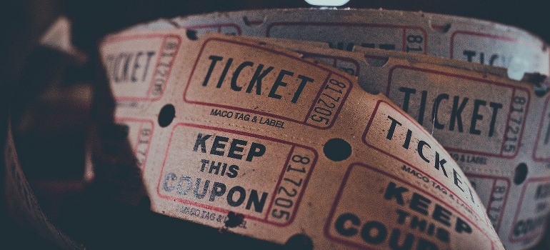 tickets and coupons for the concert