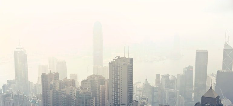 Smog that you will get used to seeing after moving to Hong Kong from New York.