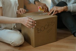 packing your office space for relocation and labeling boxes