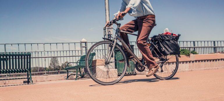 Man driving bicycle