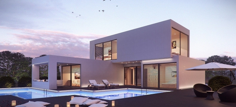 a modern house with a pool as one of the possible reasons why people relocate