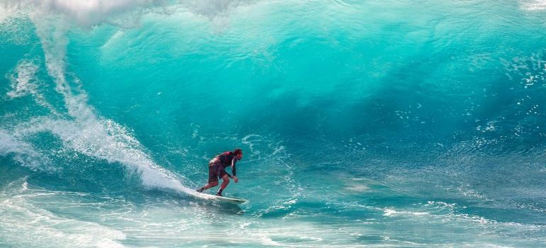 having fun at the beach, surfing