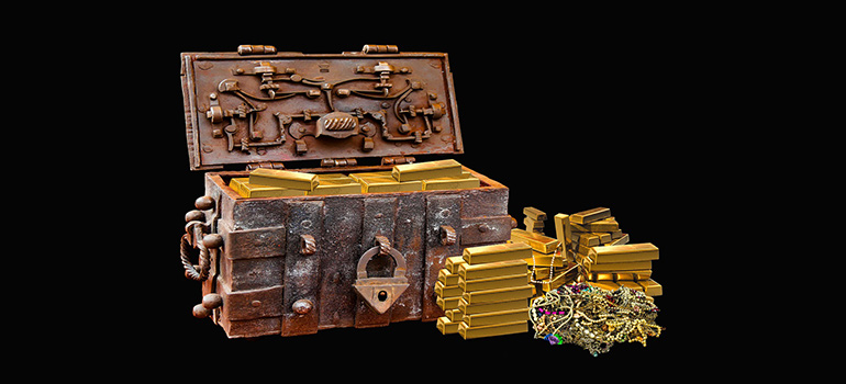 a chest with gold