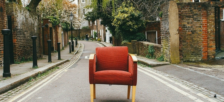red chair on the street
