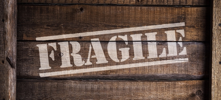 fragile sign on a wooden box