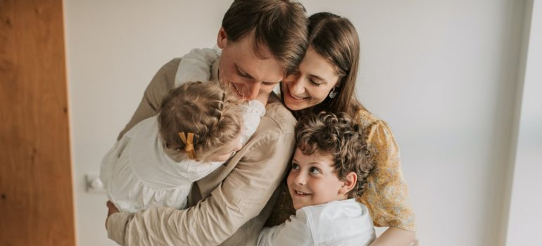 A family hugging each other