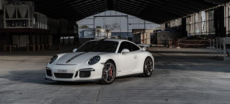 a white Porsche