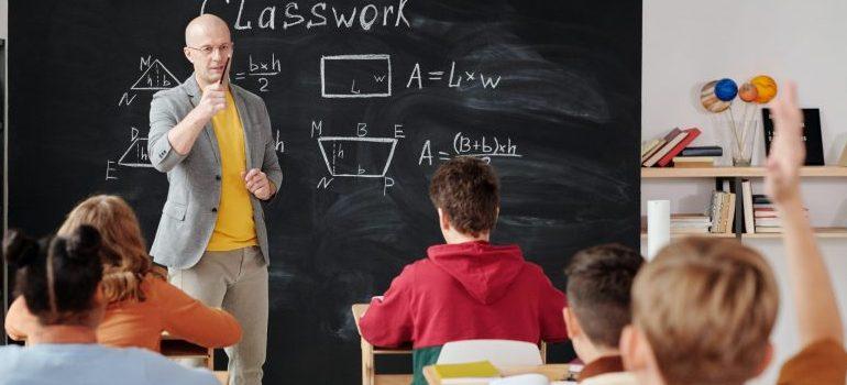 teacher with kids, classroom