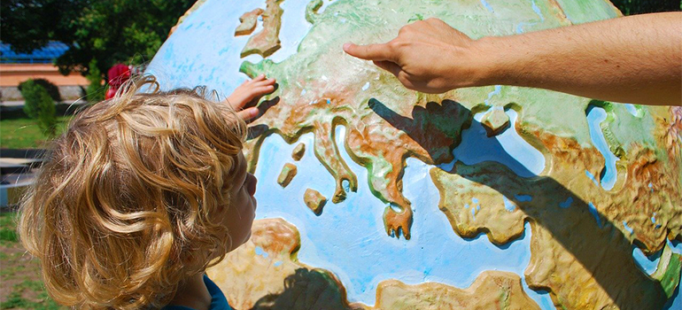 Showing Europe on a globe