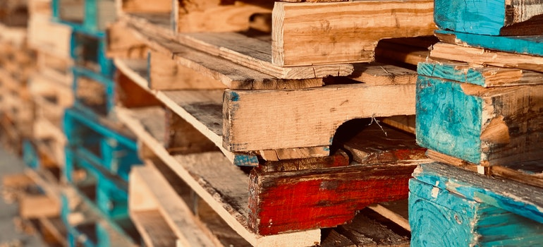 Colored wooden pallets