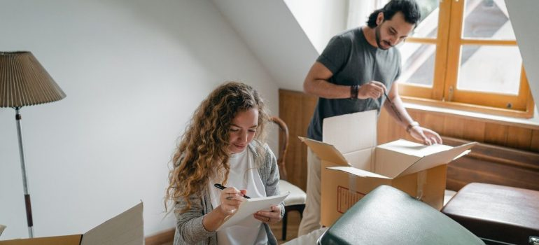 a couple downsizing home before moving