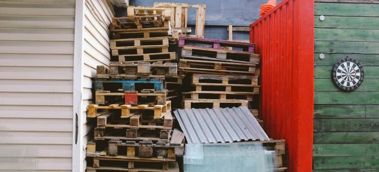Wooden pallets packed on top of each other