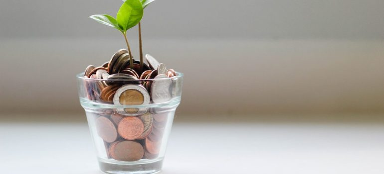 coins in a glass