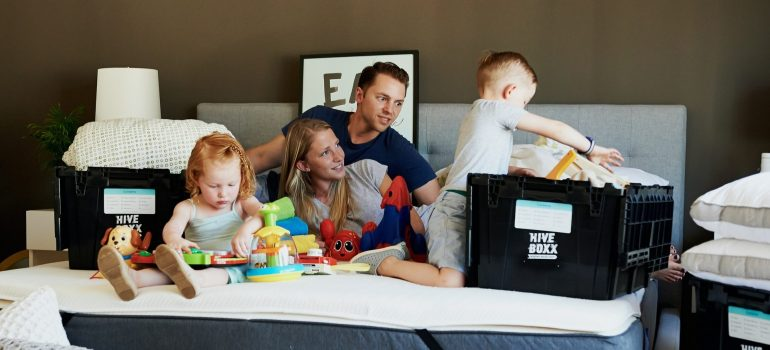 a family packing for moving